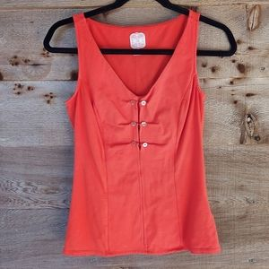 Tommy Tomato Red Vneck Tank w/ Buttons Xsmall